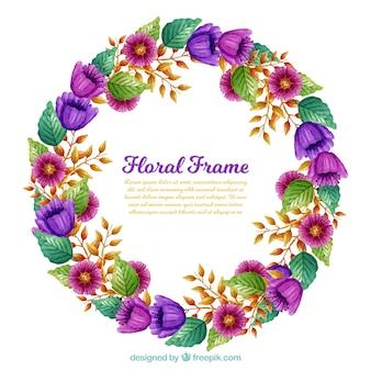 Akwarela kwiatu ramki z purpurowe kwiaty
