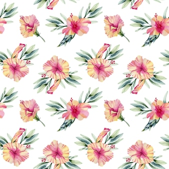 Akwarela kwiaty hibiskusa bukiety wzór