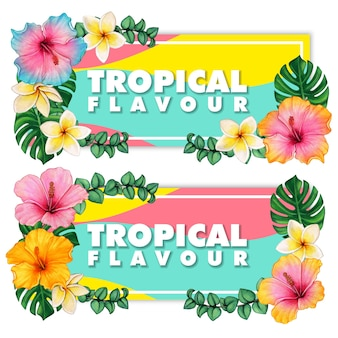 Akwarela kwiaty hibiskusa i tropikalne liście i frangipani