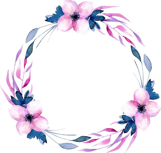 Akwarela kwiaty i gałęzie wieniec w różowe i niebieskie odcienie