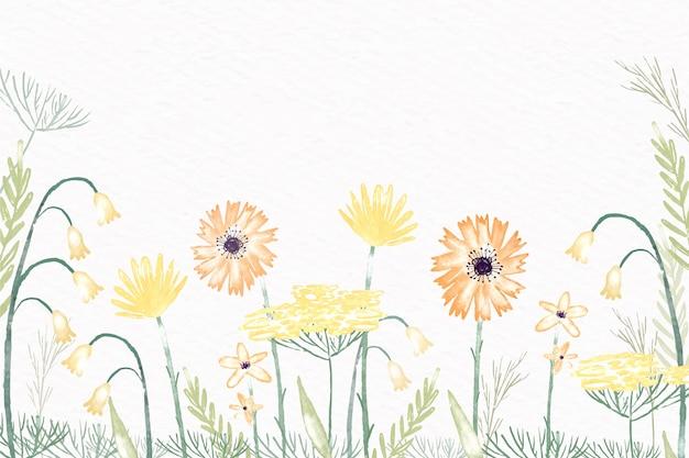 Akwarela kwiaty na tapetę w pastelowych kolorach