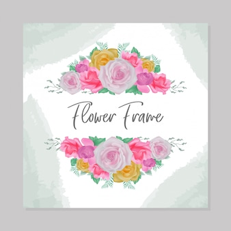 Akwarela kwiaty ramki zaproszenia ślubne