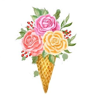 Akwarela kwiaty stożek lodu