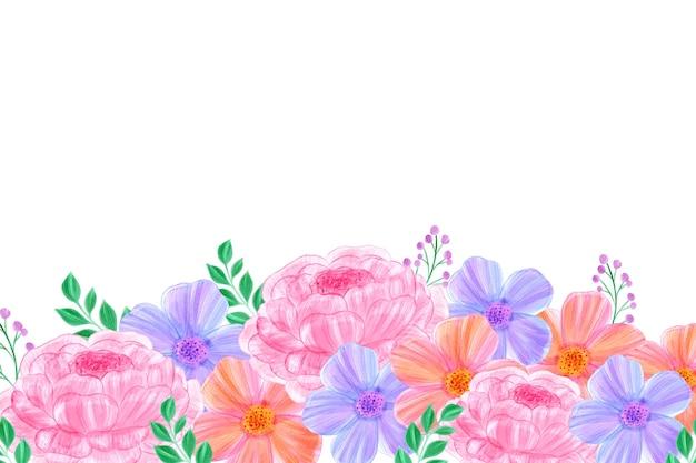 Akwarela kwiaty tapeta z białą przestrzenią