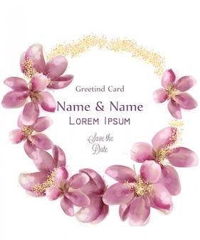 Akwarela kwiaty złoty wieniec musujące karty