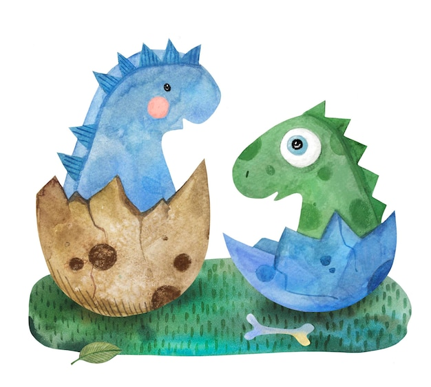 Akwarela ładny dinozaur