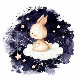 Akwarela ładny króliczek łowiący na chmurze