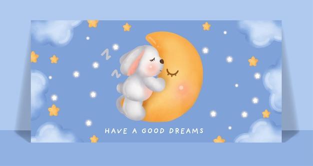 Akwarela ładny królik śpi na karcie księżyca.