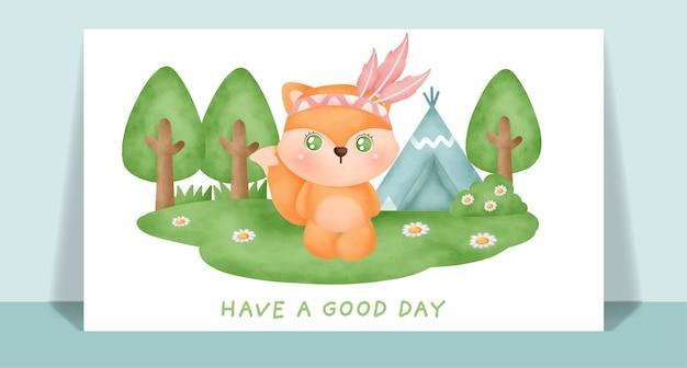 Akwarela ładny lis boho w lesie kartkę z życzeniami.