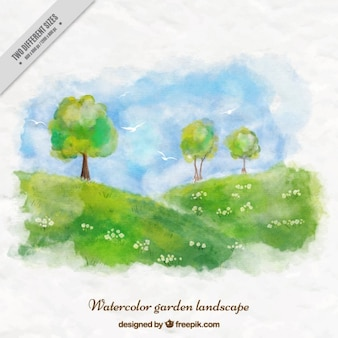 Akwarela ładny ogród tle krajobrazu