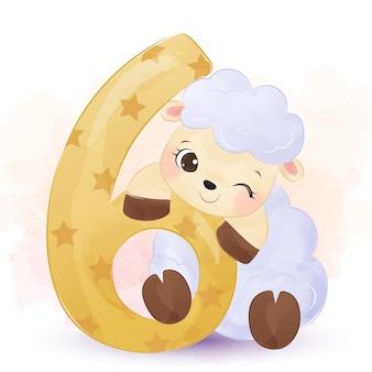 Akwarela ładny owiec
