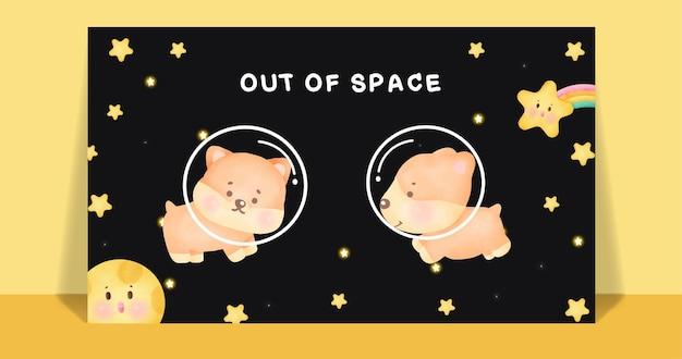 Akwarela ładny pies corgi na pocztówce galaktyki.