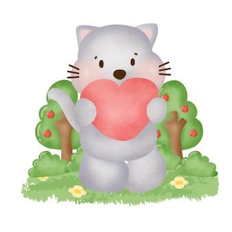 Akwarela ładny szary kot w ogrodzie.
