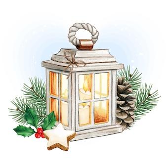 Akwarela lampion bożonarodzeniowy ze świecami, szyszką i ostrokrzewem