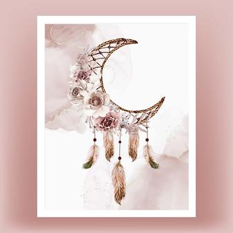 Akwarela łapacz snów kwiat brązowe pióro z terakoty