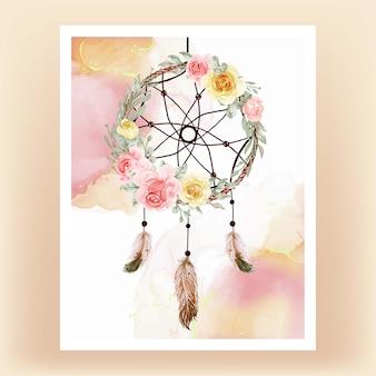 Akwarela łapacz snów kwiat żółte brzoskwiniowe pióro