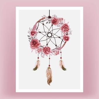 Akwarela łapacz snów róża bordowa i pióro