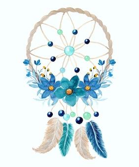 Akwarela łapacz snów z niebieskim kwiatem