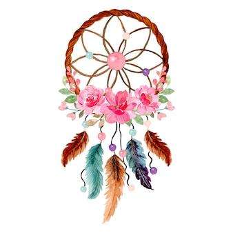 Akwarela łapacz snów z różowym kwiatowym