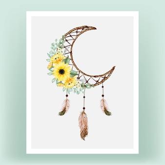 Akwarela łapacz snów ze słonecznikiem i piórkiem