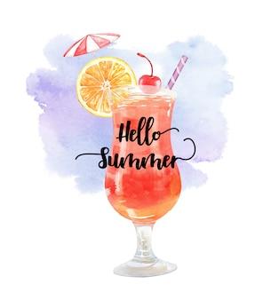 Akwarela lato napój pomarańczowy wiśnia i parasol