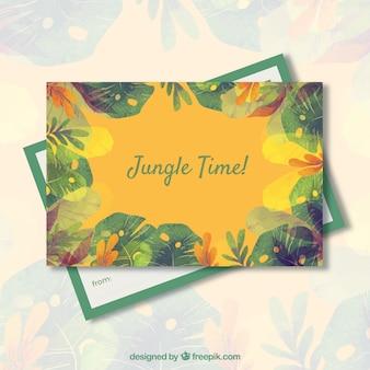 Akwarela lato szablon karty z motywem dżungli