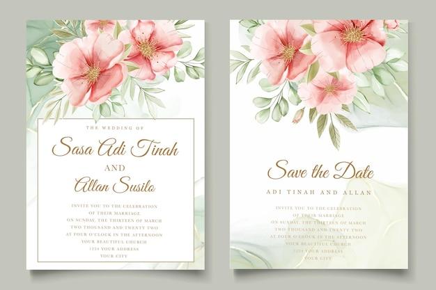 Akwarela letni zestaw kart z kwiatami i liśćmi