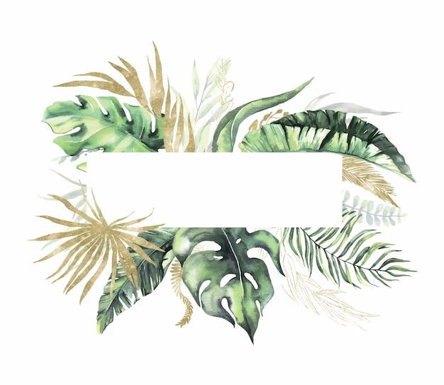 Akwarela letnia ramka z tropikalnymi suszonymi liśćmi palmowymi