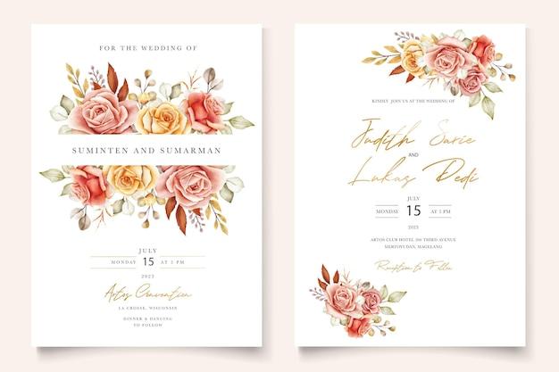 Akwarela letnie kwiaty i liście zestaw kart z zaproszeniem na ślub