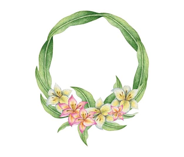 Akwarela lilia kwiatowy ramki z liśćmi