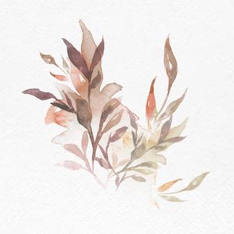 Akwarela liść brązowy kwiatowy wektor jesień sezonowa grafika
