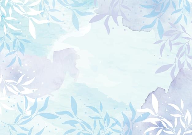 Akwarela liści kwiatowy w zimnych kolorach