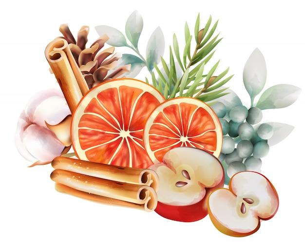 Akwarela liści z kawałkami pomarańczy