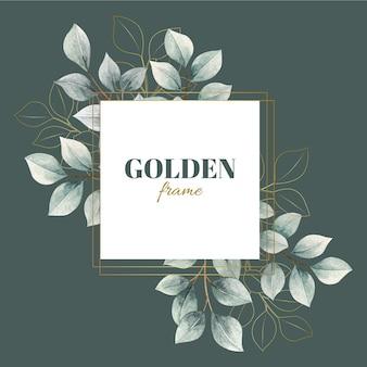 Akwarela liści z złotą ramą