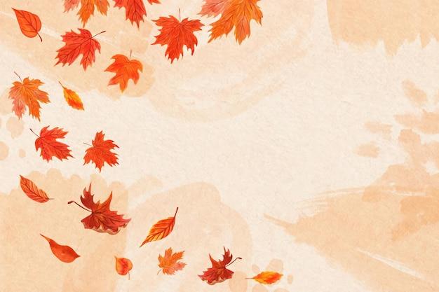 Akwarela liście spadające tło