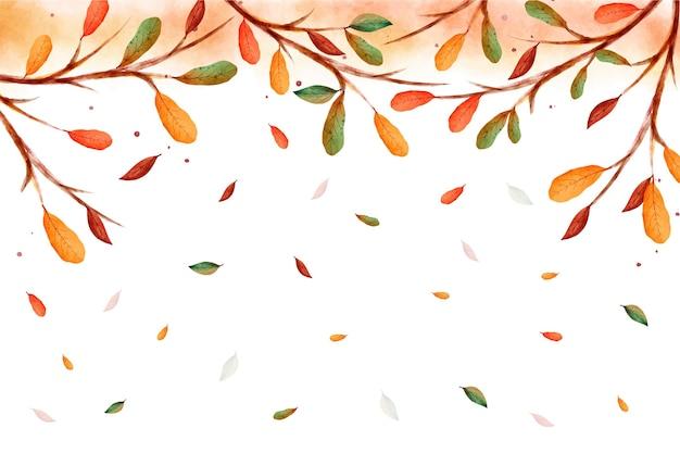 Akwarela liście spadające z gałęzi