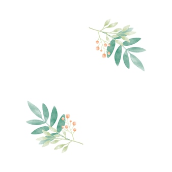 Akwarela liście z jagodami wektor