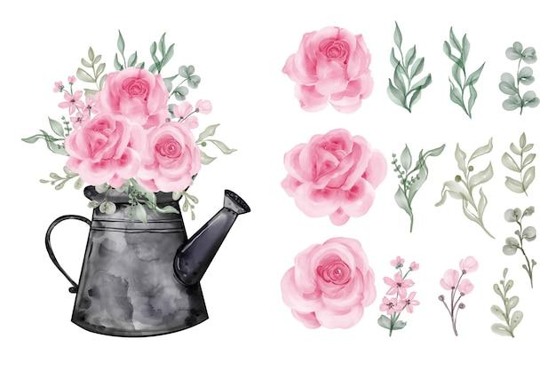 Akwarela liście z różą na białym tle