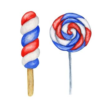 Akwarela lody popcicle i cukierki lollypop w kolorach flagi usa. na słodkie amerykańskie patriotyczne kompozycje, dzień niepodległości ameryki, pomnik, koncepcja wystroju imprezy z okazji dnia flagi