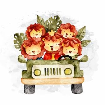Akwarela lwy jeżdżące samochodem safari