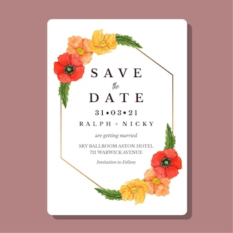 Akwarela maki kwiat złota geometryczna granica zaproszenia ślubne szablon karty