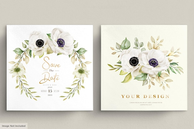 Akwarela maku zawilec kwiatowy zaproszenie karty