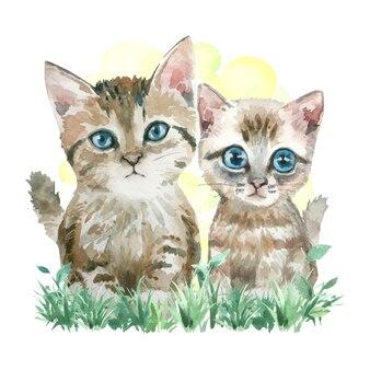 Akwarela malarstwo dwóch kotów na trawie.