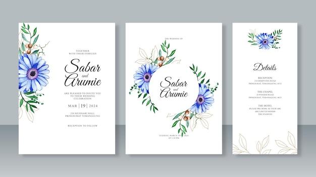 Akwarela malarstwo kwiatowy i kontur liścia dla pięknego zestawu szablonów zaproszenia na ślub