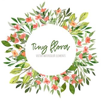 Akwarela małe kwiatowe elementy, rama, ręcznie rysowane, wieniec kwiatowy