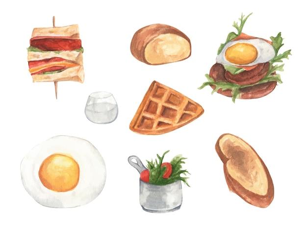 Akwarela malowana kolekcja różnych rodzajów porannych zestawów śniadaniowych.