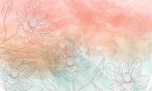 Akwarela malowane tło z ręcznie rysowanymi kwiatami