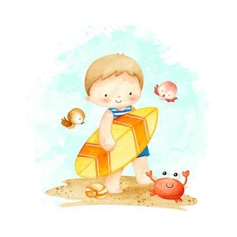 Akwarela mały chłopiec na plaży latem