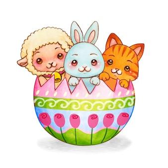 Akwarela małych przyjaciół w zdobionej skorupce jajka