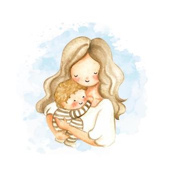 Akwarela mama i dziecko